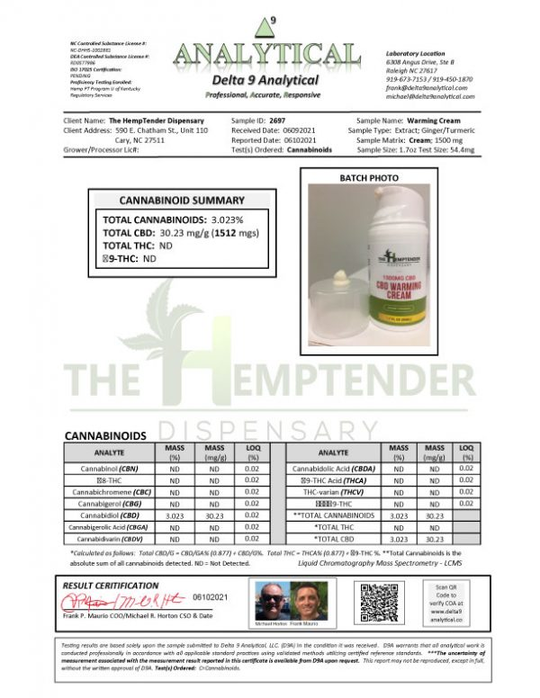 The Hemptender CBD Cream COA
