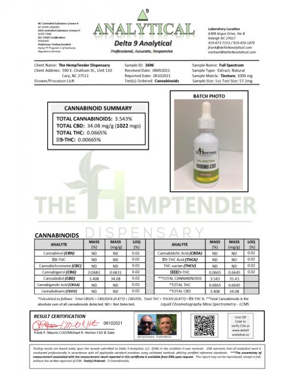 The Hemptender Full Spectrum Tincture COA